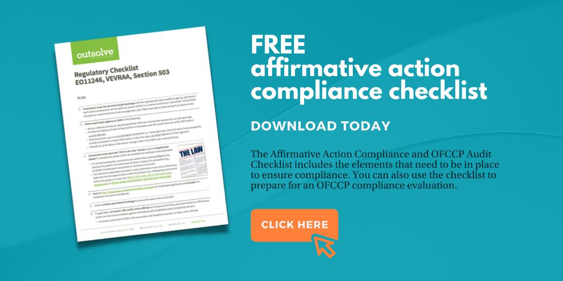 affirmative action compliance checklist